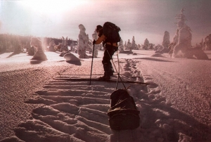 With his photographic equipment and livelihood to survive in the wilderness of the Finnish Lapland. (Photo by Marcello Libra)