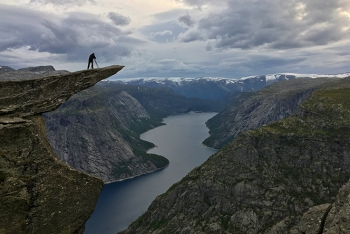 On the cliff of Trolltunga, Norway. (Photo by Cristina Figari)