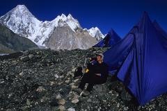 Relaxing outside my tent on the Baltoro glacier, Pakistan. (Photo by Mario Pinoli)