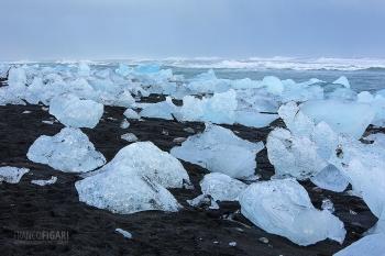 ISL0315_0135_Blocks of ice from the Vatnajökull glacier are transported ashore by the sea current (Jökulsárlón, Iceland)