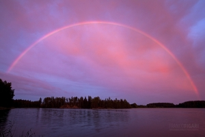 FIN0710_0418_Rainbow at sunset in the pink sky (Southern Finland)